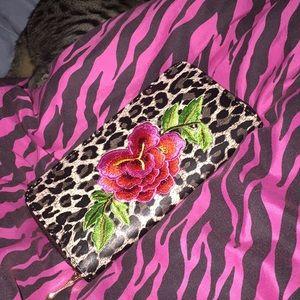 Large center flower Leopard zipper wallet